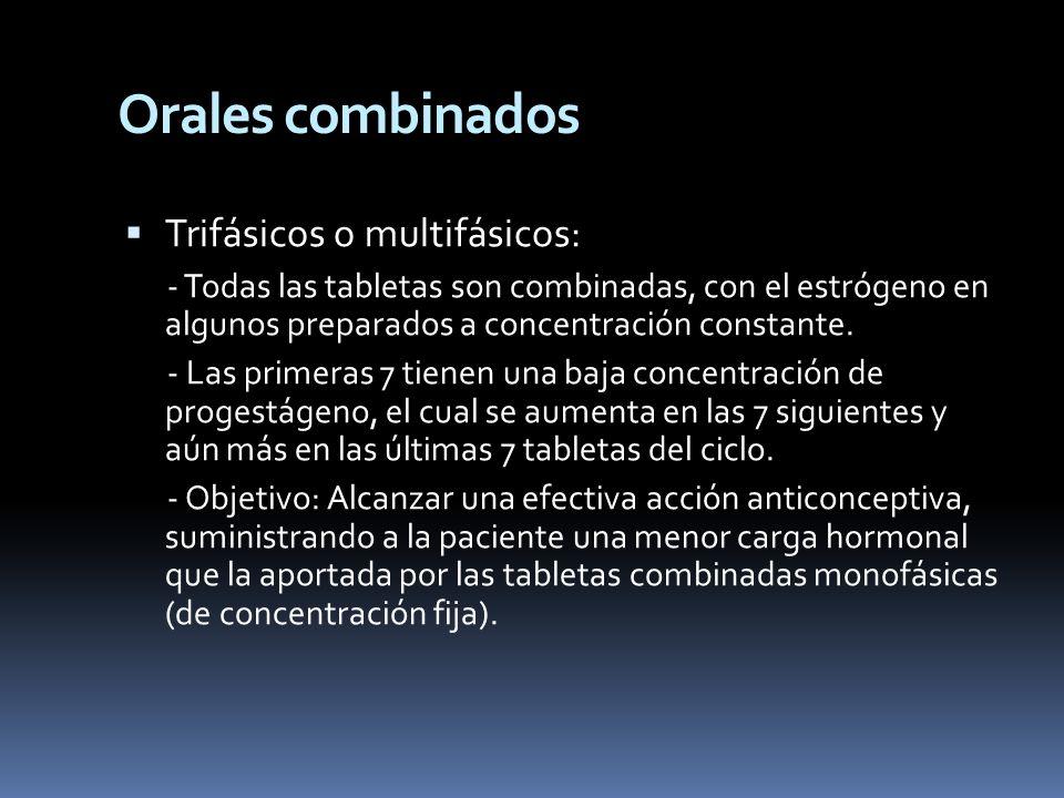 Trifásicos o multifásicos: - Todas las tabletas son combinadas, con el estrógeno en algunos preparados a concentración constante. - Las primeras 7 tie