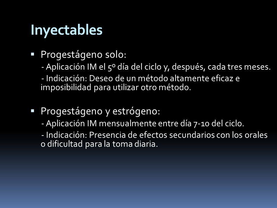 Inyectables Progestágeno solo: - Aplicación IM el 5º día del ciclo y, después, cada tres meses. - Indicación: Deseo de un método altamente eficaz e im