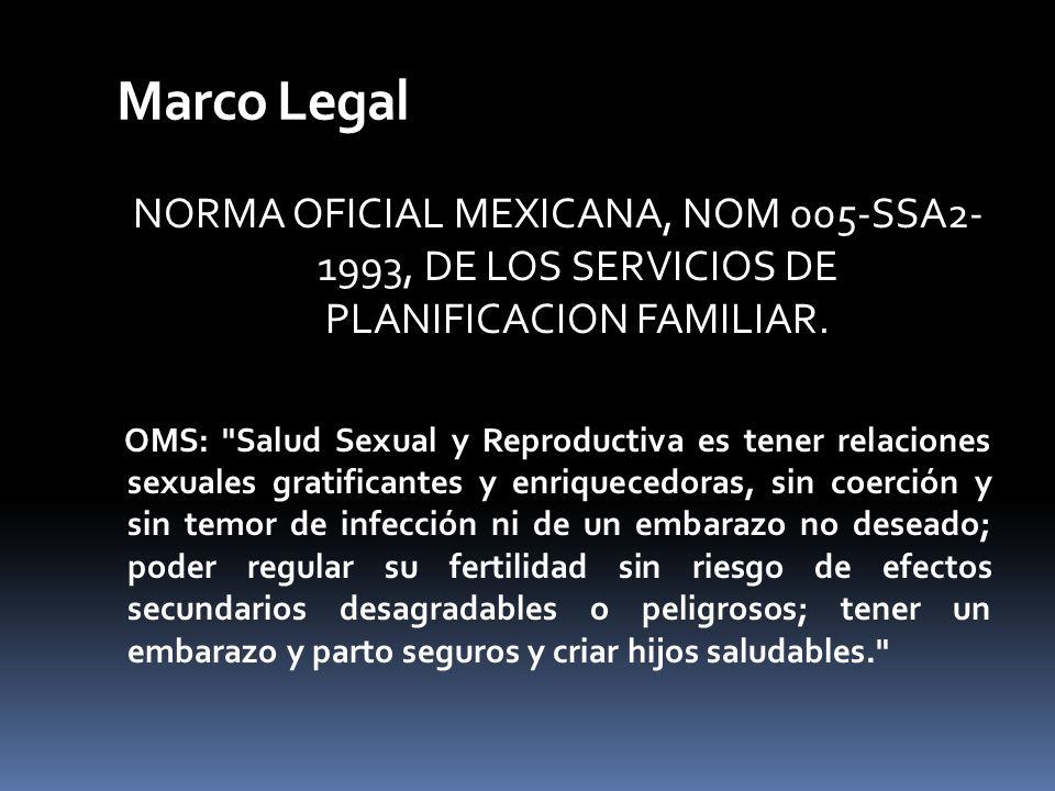 Marco Legal NORMA OFICIAL MEXICANA, NOM 005-SSA2- 1993, DE LOS SERVICIOS DE PLANIFICACION FAMILIAR. OMS: