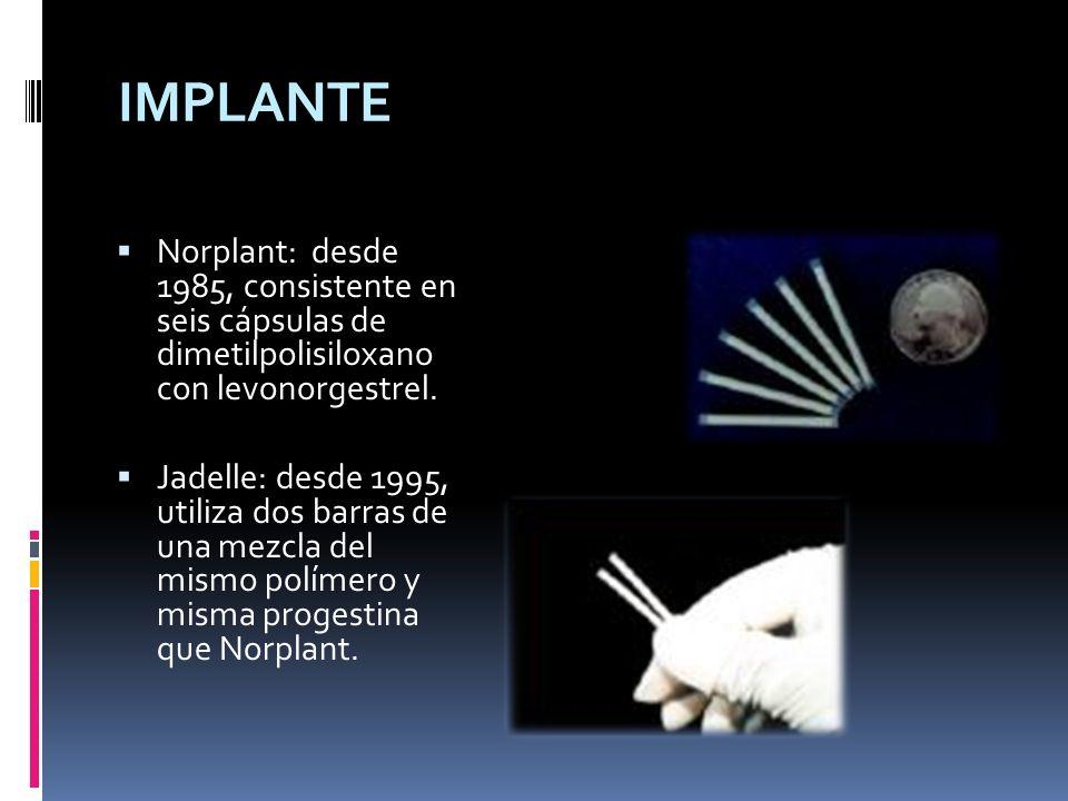 Norplant: desde 1985, consistente en seis cápsulas de dimetilpolisiloxano con levonorgestrel. Jadelle: desde 1995, utiliza dos barras de una mezcla de