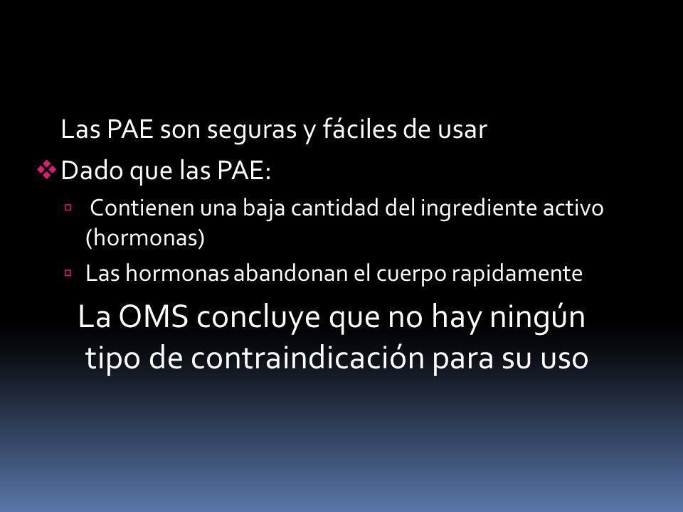 Las PAE son seguras y fáciles de usar Dado que las PAE: Contienen una baja cantidad del ingrediente activo (hormonas) Las hormonas abandonan el cuerpo