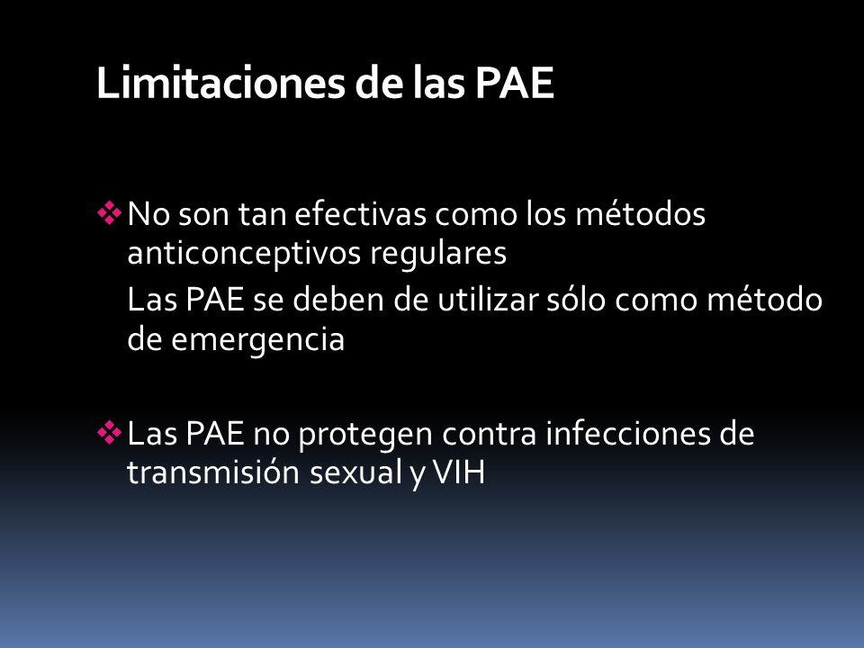 Limitaciones de las PAE No son tan efectivas como los métodos anticonceptivos regulares Las PAE se deben de utilizar sólo como método de emergencia La