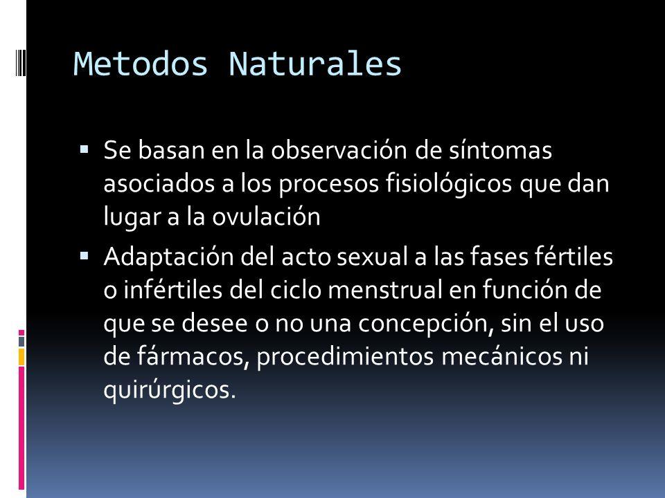 Metodos Naturales Se basan en la observación de síntomas asociados a los procesos fisiológicos que dan lugar a la ovulación Adaptación del acto sexual