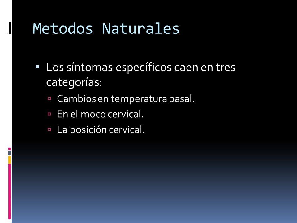 Metodos Naturales Los síntomas específicos caen en tres categorías: Cambios en temperatura basal. En el moco cervical. La posición cervical.