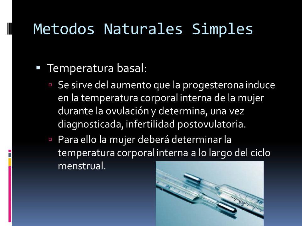 Metodos Naturales Simples Temperatura basal: Se sirve del aumento que la progesterona induce en la temperatura corporal interna de la mujer durante la