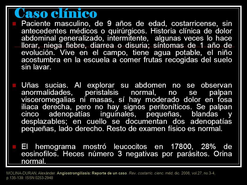La enfermedad de Morera o angiostrongiliasis Zoonosis El primer caso observado en Costa Rica fue en 1952 Su agente etiológico (Angiostrongylus costaricensis) fue descrito en 1971 por los doctores Morera y Céspedes como un cuadro clínico similar a la apendicitis aguda.