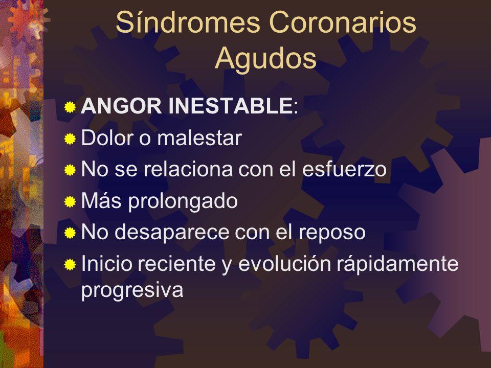 Síndromes Coronarios Agudos ANGOR INESTABLE: Dolor o malestar No se relaciona con el esfuerzo Más prolongado No desaparece con el reposo Inicio reciente y evolución rápidamente progresiva