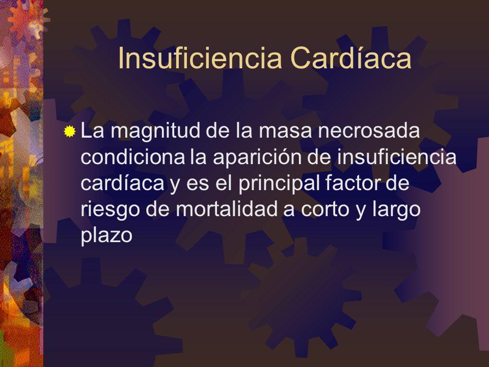 Insuficiencia Cardíaca La magnitud de la masa necrosada condiciona la aparición de insuficiencia cardíaca y es el principal factor de riesgo de mortalidad a corto y largo plazo