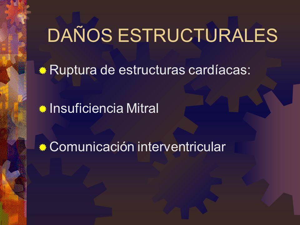 DAÑOS ESTRUCTURALES Ruptura de estructuras cardíacas: Insuficiencia Mitral Comunicación interventricular