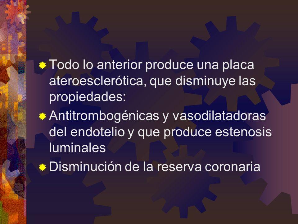 Todo lo anterior produce una placa ateroesclerótica, que disminuye las propiedades: Antitrombogénicas y vasodilatadoras del endotelio y que produce es