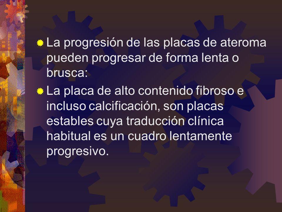 La progresión de las placas de ateroma pueden progresar de forma lenta o brusca: La placa de alto contenido fibroso e incluso calcificación, son placas estables cuya traducción clínica habitual es un cuadro lentamente progresivo.