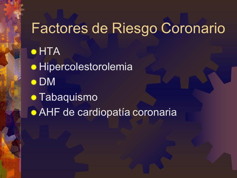 Factores de Riesgo Coronario HTA Hipercolestorolemia DM Tabaquismo AHF de cardiopatía coronaria