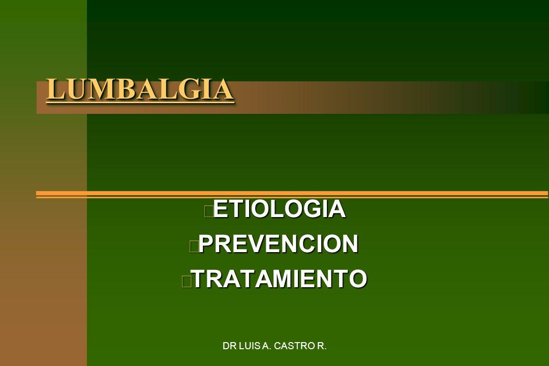 DR LUIS A. CASTRO R. LUMBALGIALUMBALGIA n ETIOLOGIA n PREVENCION n TRATAMIENTO