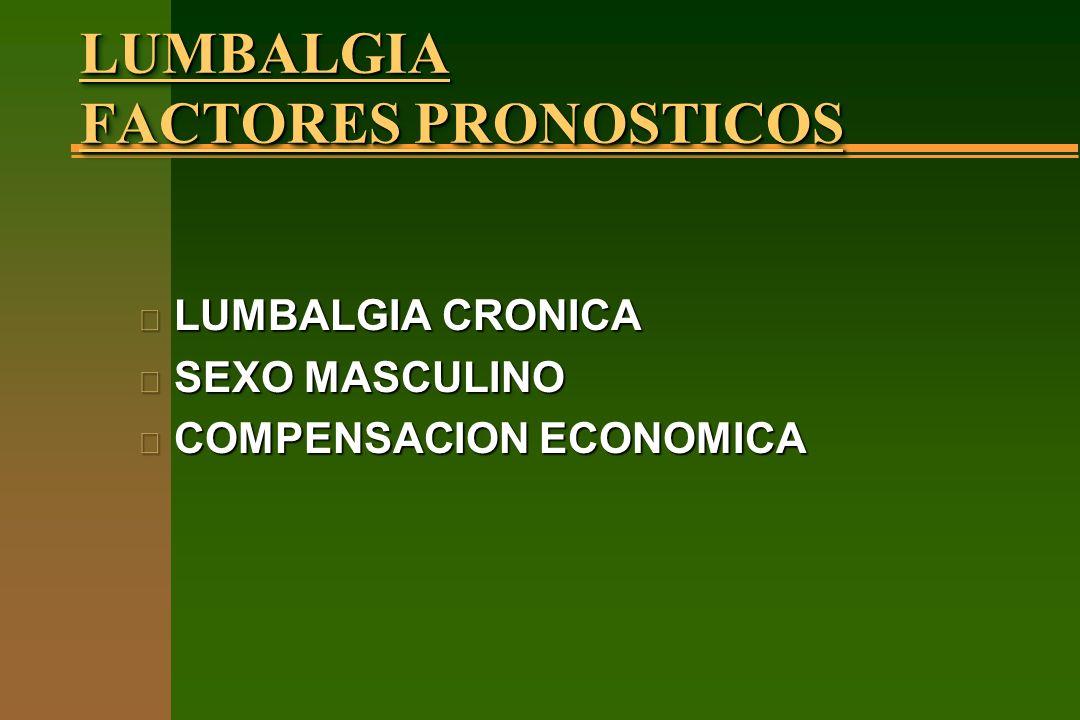 LUMBALGIA FACTORES PRONOSTICOS n LUMBALGIA CRONICA n SEXO MASCULINO n COMPENSACION ECONOMICA