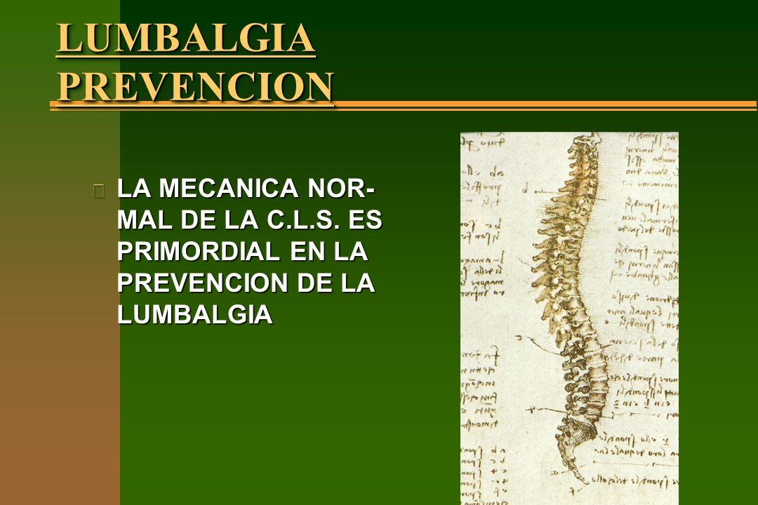 LUMBALGIA PREVENCION n LA MECANICA NOR- MAL DE LA C.L.S. ES PRIMORDIAL EN LA PREVENCION DE LA LUMBALGIA
