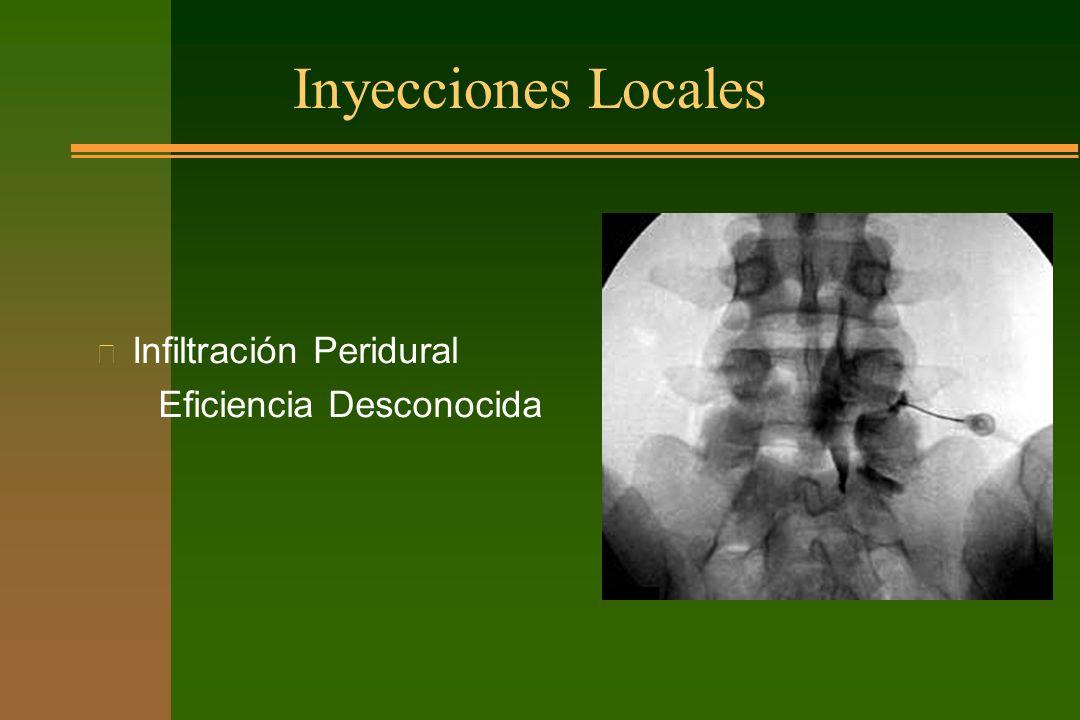 Inyecciones Locales n Infiltración Peridural Eficiencia Desconocida