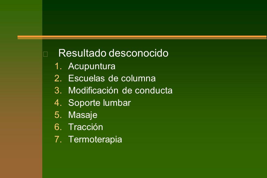 n Resultado desconocido 1.Acupuntura 2.Escuelas de columna 3.Modificación de conducta 4.Soporte lumbar 5.Masaje 6.Tracción 7.Termoterapia