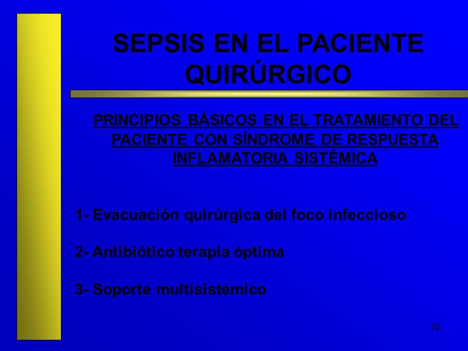 10 SEPSIS EN EL PACIENTE QUIRÚRGICO PRINCIPIOS BÁSICOS EN EL TRATAMIENTO DEL PACIENTE CON SÍNDROME DE RESPUESTA INFLAMATORIA SISTÉMICA 1- Evacuación q