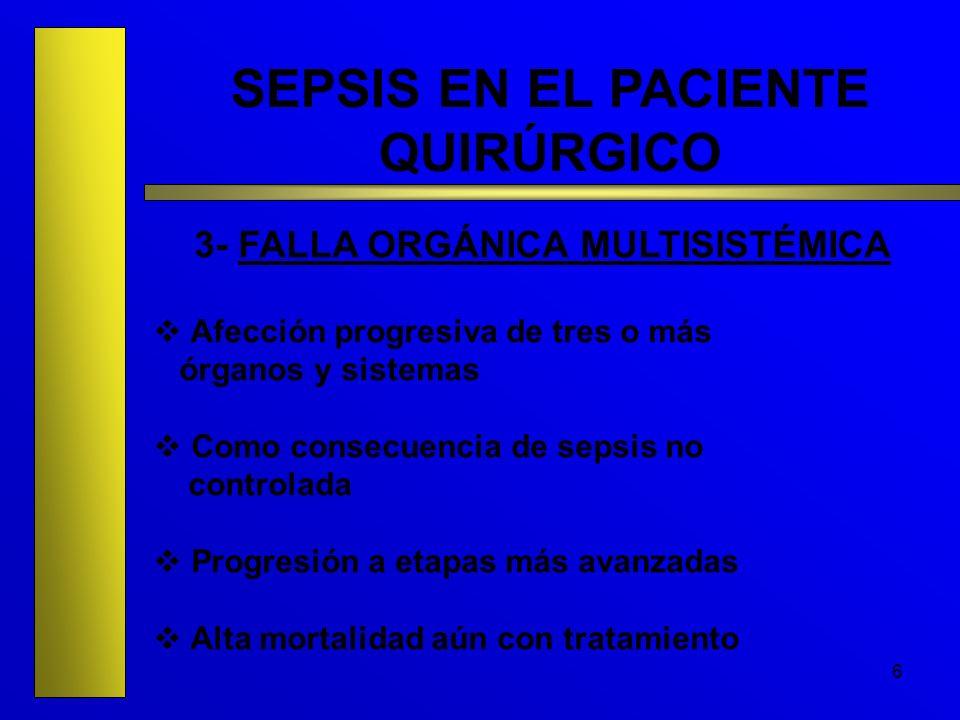 6 SEPSIS EN EL PACIENTE QUIRÚRGICO 3- FALLA ORGÁNICA MULTISISTÉMICA Afección progresiva de tres o más órganos y sistemas Como consecuencia de sepsis n