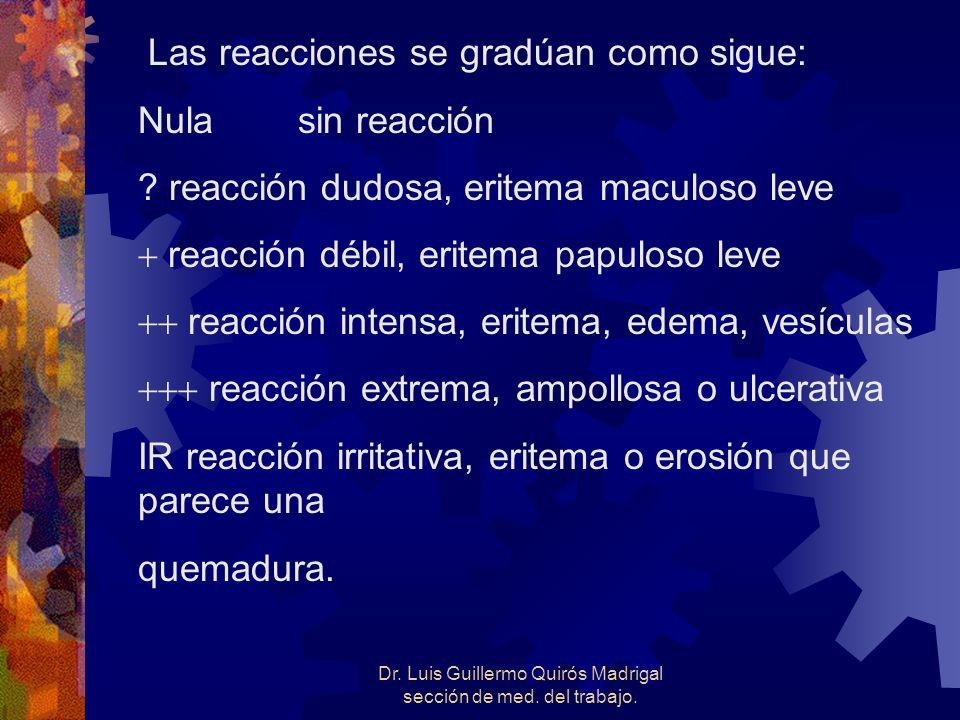 Las reacciones se gradúan como sigue: Nula sin reacción ? reacción dudosa, eritema maculoso leve reacción débil, eritema papuloso leve reacción intens