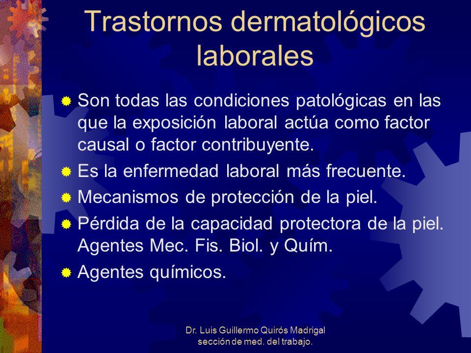 Trastornos dermatológicos laborales Son todas las condiciones patológicas en las que la exposición laboral actúa como factor causal o factor contribuy