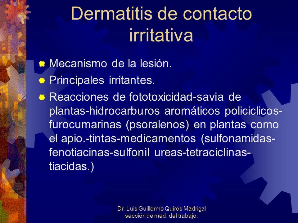 Dr. Luis Guillermo Quirós Madrigal sección de med. del trabajo. Dermatitis de contacto irritativa Mecanismo de la lesión. Principales irritantes. Reac