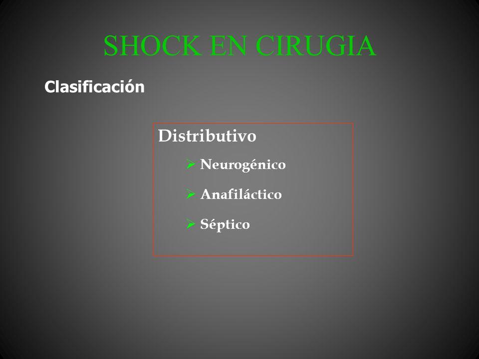 SHOCK EN CIRUGIA Distributivo Neurogénico Anafiláctico Séptico Clasificación