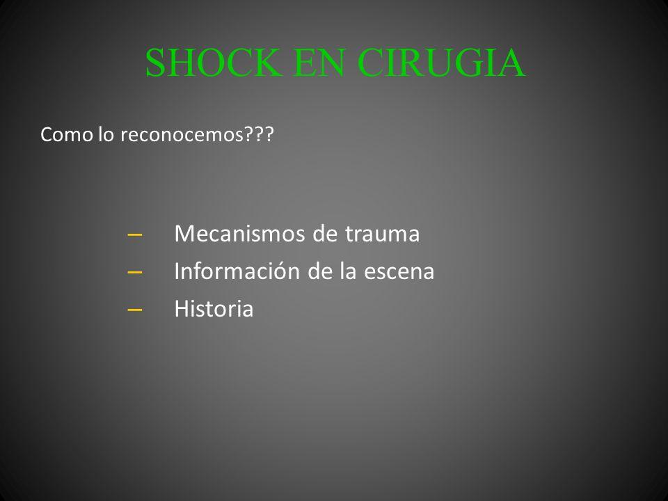 SHOCK EN CIRUGIA Como lo reconocemos??? – Mecanismos de trauma – Información de la escena – Historia
