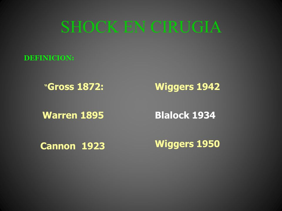 SHOCK EN CIRUGIA DEFINICION: Gross 1872: Warren 1895 Cannon 1923 Wiggers 1942 Wiggers 1950 Blalock 1934