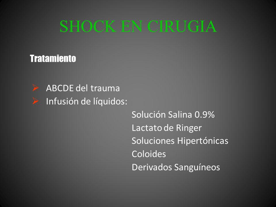 SHOCK EN CIRUGIA ABCDE del trauma Infusión de líquidos: Solución Salina 0.9% Lactato de Ringer Soluciones Hipertónicas Coloides Derivados Sanguíneos T