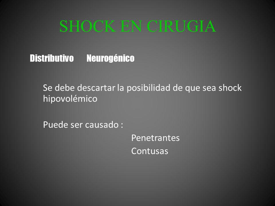 SHOCK EN CIRUGIA Se debe descartar la posibilidad de que sea shock hipovolémico Puede ser causado : Penetrantes Contusas Distributivo Neurogénico