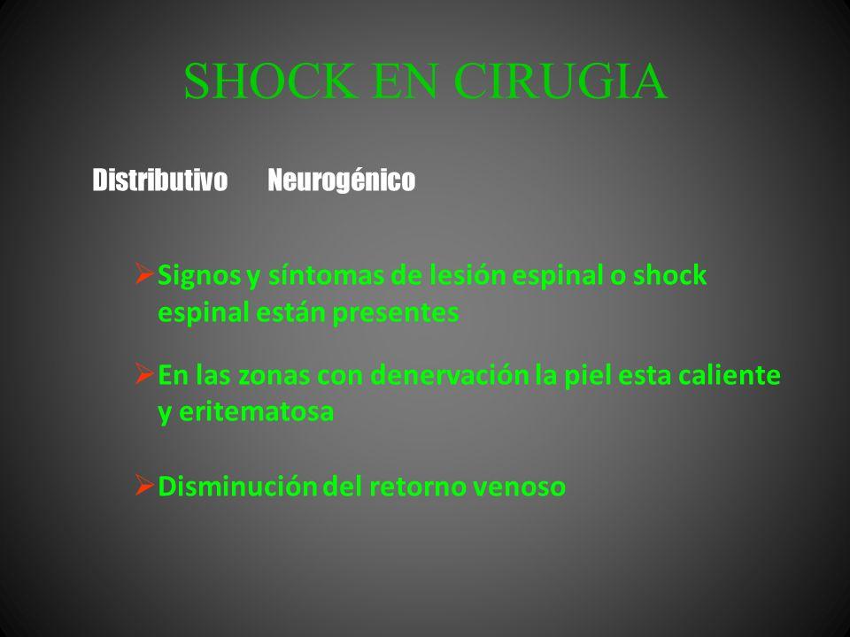 SHOCK EN CIRUGIA Signos y síntomas de lesión espinal o shock espinal están presentes En las zonas con denervación la piel esta caliente y eritematosa