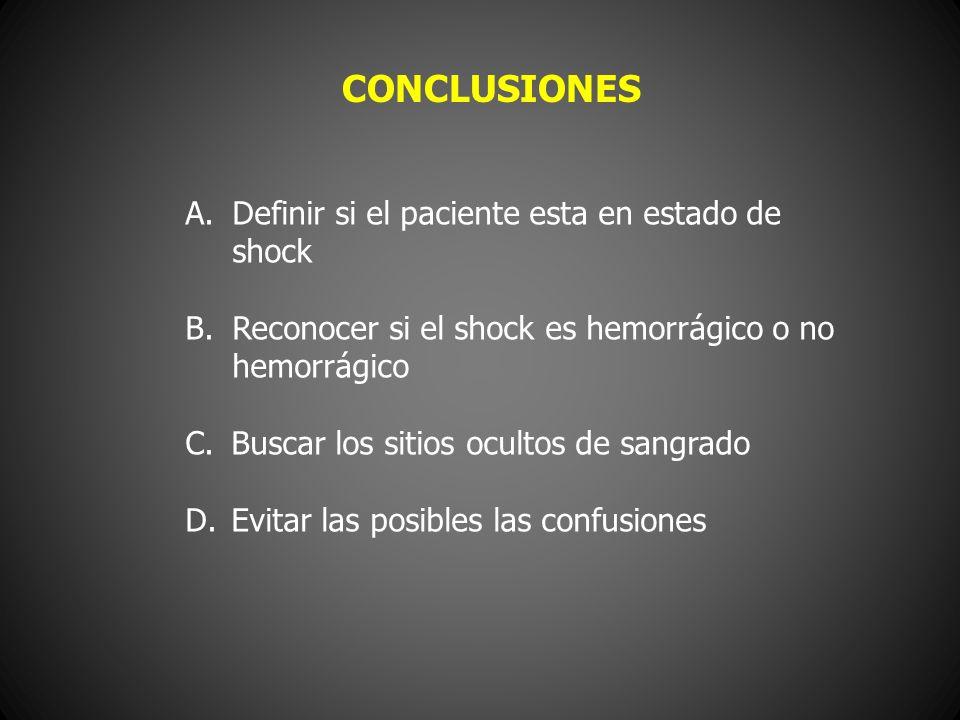 A.Definir si el paciente esta en estado de shock B.Reconocer si el shock es hemorrágico o no hemorrágico C. Buscar los sitios ocultos de sangrado D. E