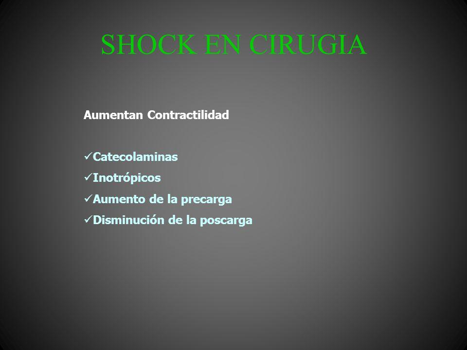 SHOCK EN CIRUGIA ABCDE del trauma Infusión de líquidos: Solución Salina 0.9% Lactato de Ringer Soluciones Hipertónicas Coloides Derivados Sanguíneos Tratamiento