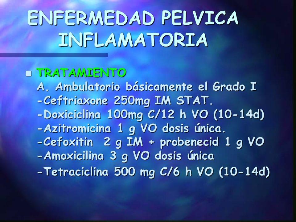 ENFERMEDAD PELVICA INFLAMATORIA 10. Enf. o Tx inmunosupresor 11. D M 12. Inhablilidad para revalorar en 72 h 13. Dudas en el Dx. 10. Enf. o Tx inmunos