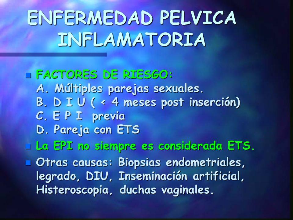 ENFERMEDAD PELVICA INFLAMATORIA SOPORTE n Abstinencia sexual.