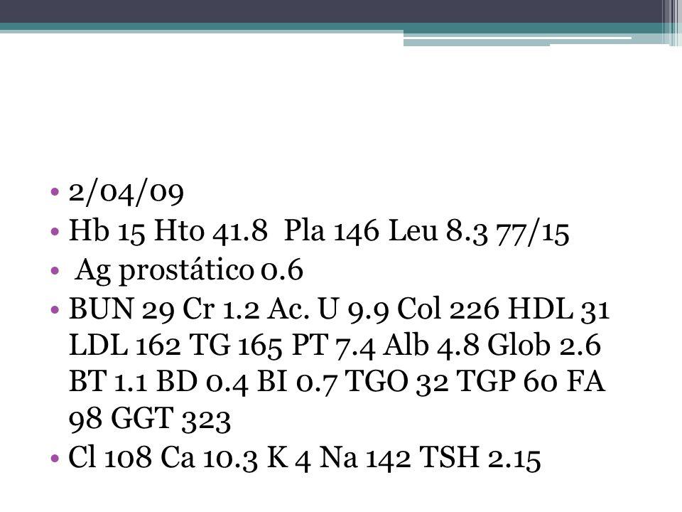 2/04/09 Hb 15 Hto 41.8 Pla 146 Leu 8.3 77/15 Ag prostático 0.6 BUN 29 Cr 1.2 Ac. U 9.9 Col 226 HDL 31 LDL 162 TG 165 PT 7.4 Alb 4.8 Glob 2.6 BT 1.1 BD