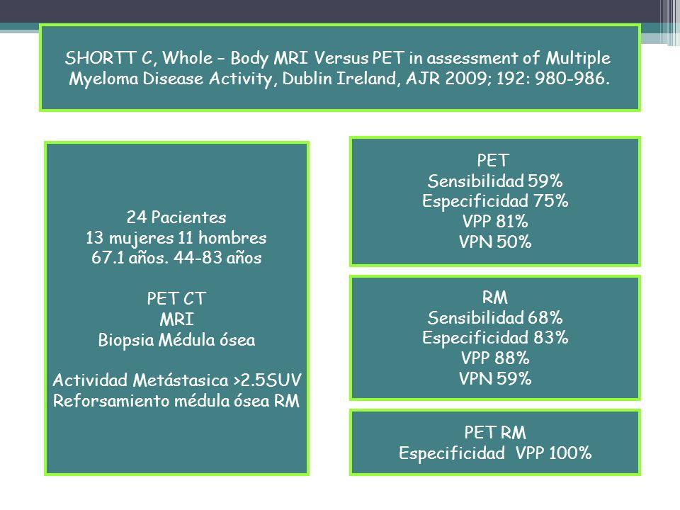 SHORTT C, Whole – Body MRI Versus PET in assessment of Multiple Myeloma Disease Activity, Dublin Ireland, AJR 2009; 192: 980-986. 24 Pacientes 13 muje