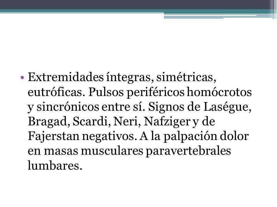 Extremidades íntegras, simétricas, eutróficas. Pulsos periféricos homócrotos y sincrónicos entre sí. Signos de Laségue, Bragad, Scardi, Neri, Nafziger