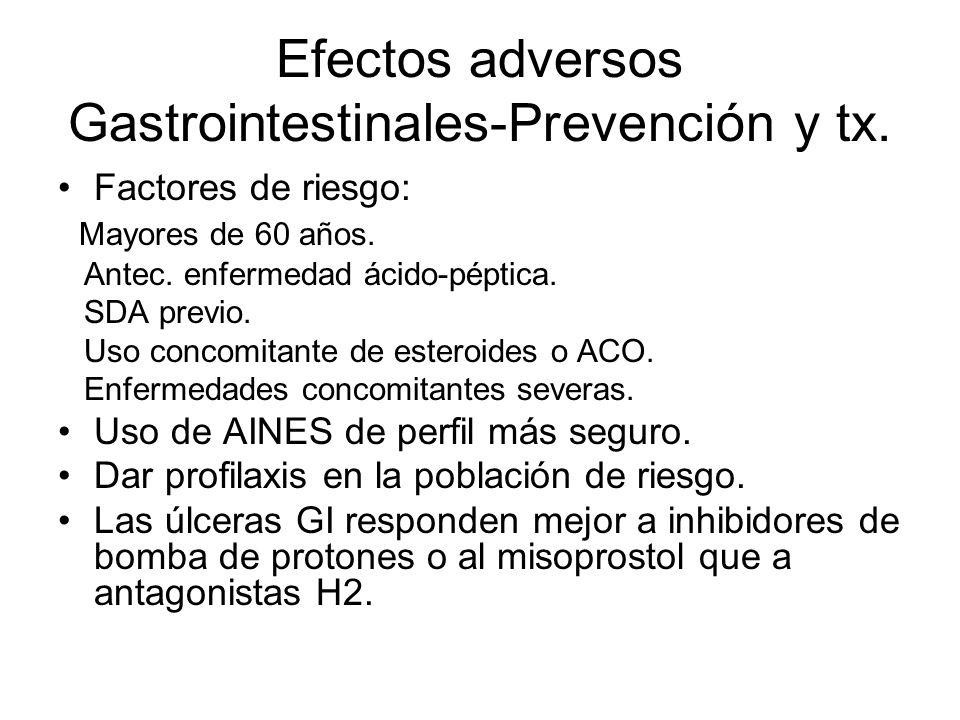 Efectos adversos Gastrointestinales-Prevención y tx. Factores de riesgo: Mayores de 60 años. Antec. enfermedad ácido-péptica. SDA previo. Uso concomit