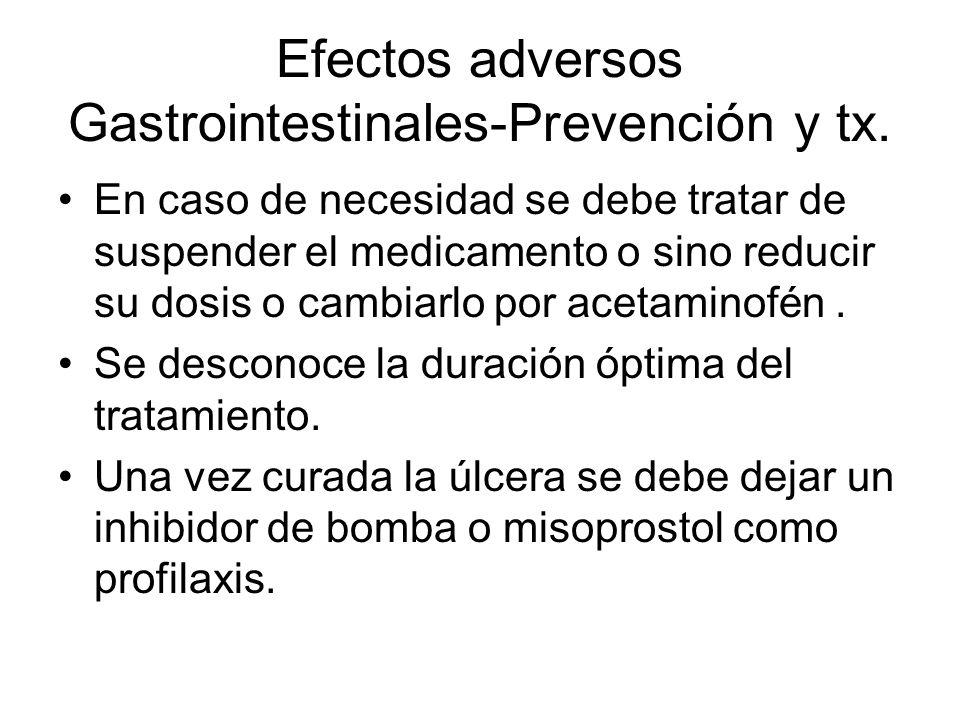Efectos adversos Gastrointestinales-Prevención y tx. En caso de necesidad se debe tratar de suspender el medicamento o sino reducir su dosis o cambiar
