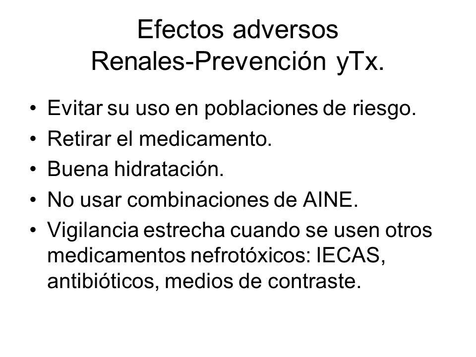 Efectos adversos Renales-Prevención yTx. Evitar su uso en poblaciones de riesgo. Retirar el medicamento. Buena hidratación. No usar combinaciones de A