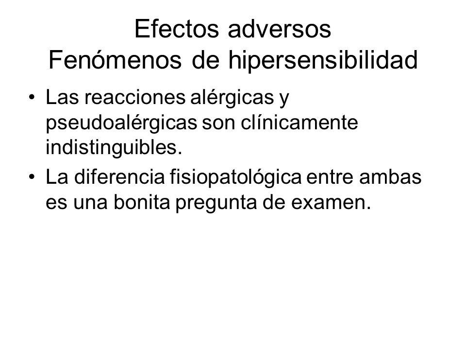 Efectos adversos Fenómenos de hipersensibilidad Las reacciones alérgicas y pseudoalérgicas son clínicamente indistinguibles. La diferencia fisiopatoló