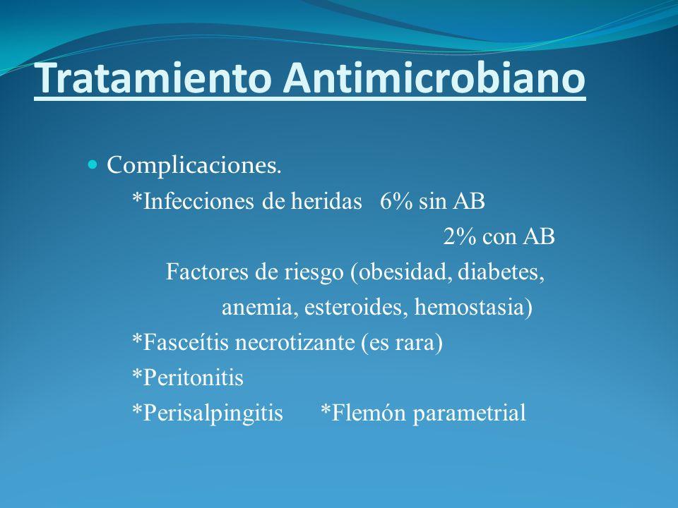 Tratamiento Antimicrobiano Complicaciones. *Infecciones de heridas 6% sin AB 2% con AB Factores de riesgo (obesidad, diabetes, anemia, esteroides, hem