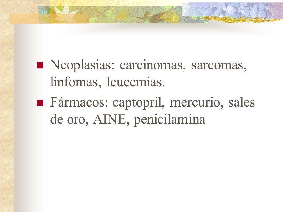 Neoplasias: carcinomas, sarcomas, linfomas, leucemias. Fármacos: captopril, mercurio, sales de oro, AINE, penicilamina