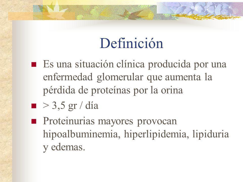 Definición Es una situación clínica producida por una enfermedad glomerular que aumenta la pérdida de proteínas por la orina > 3,5 gr / día Proteinuri