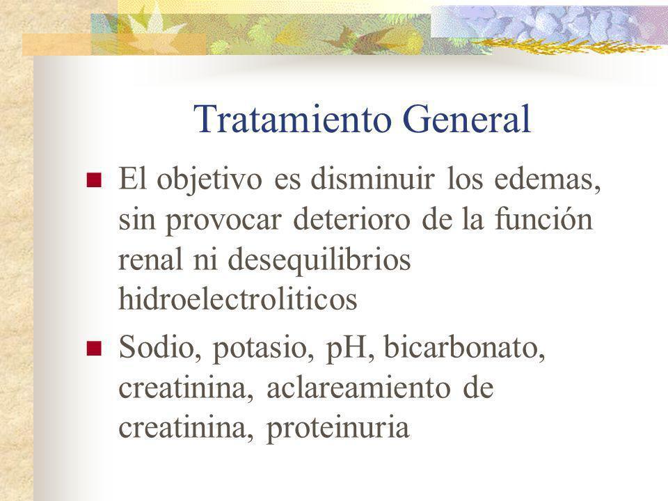 Tratamiento General El objetivo es disminuir los edemas, sin provocar deterioro de la función renal ni desequilibrios hidroelectroliticos Sodio, potas