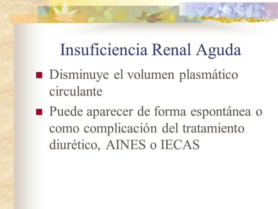 Insuficiencia Renal Aguda Disminuye el volumen plasmático circulante Puede aparecer de forma espontánea o como complicación del tratamiento diurético,