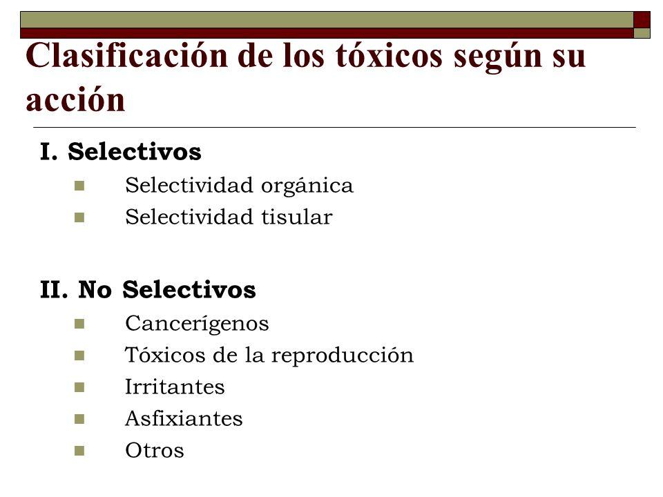 Clasificación de los tóxicos según su acción I.