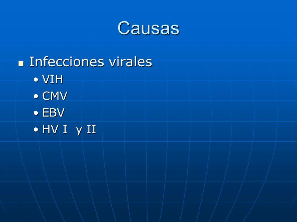 Causas Infecciones virales Infecciones virales VIHVIH CMVCMV EBVEBV HV I y IIHV I y II